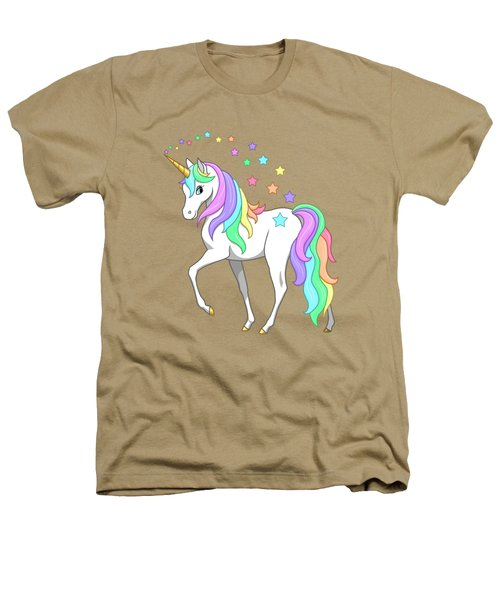 Rainbow Unicorn Clouds And Stars Heathers T-Shirt by Crista Forest