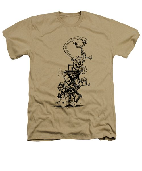 Rat Reverse-cycle Steam Engine Heathers T-Shirt by Kim Gauge