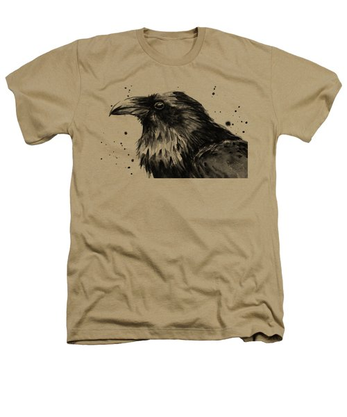 Raven Watercolor Portrait Heathers T-Shirt
