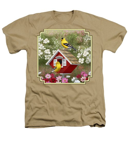 Red Birdhouse And Goldfinches Heathers T-Shirt by Crista Forest