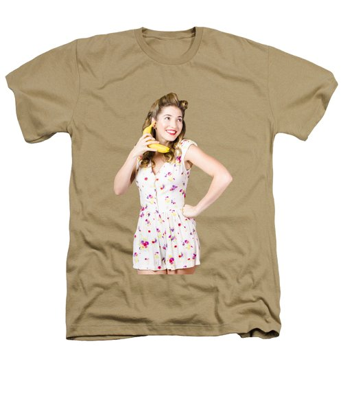 Retro Pin Up Girl Chatting On Banana Telephone Heathers T-Shirt by Jorgo Photography - Wall Art Gallery