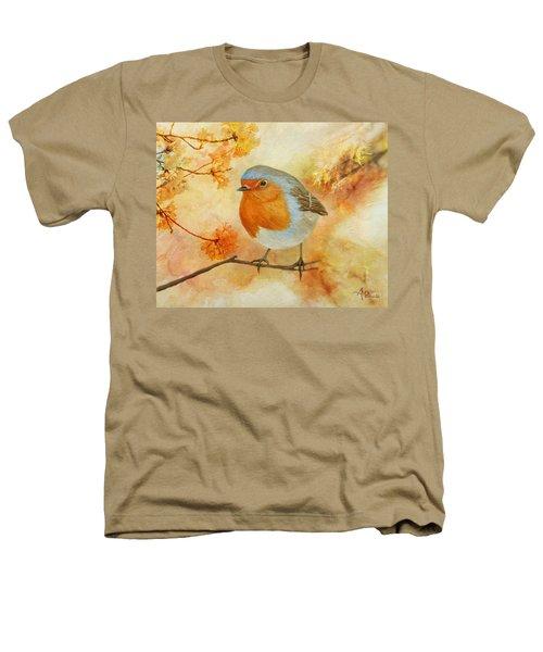 Robin Among Flowers Heathers T-Shirt