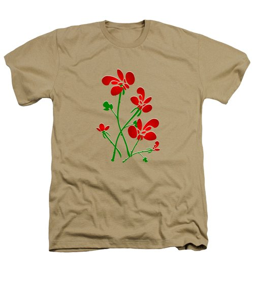 Rooster Flowers Heathers T-Shirt
