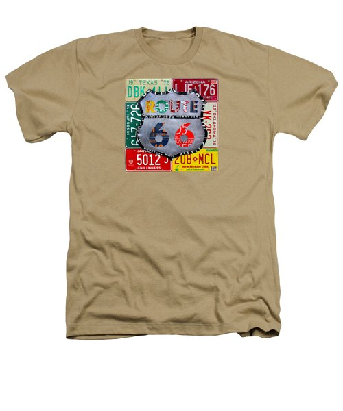 Route 66 Highway Road Sign License Plate Art Heathers T-Shirt