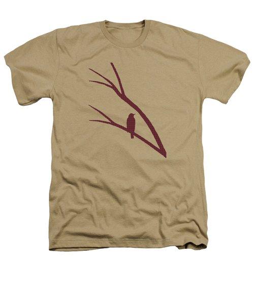 Rustic Bird Art Dark Red Bird Silhouette Heathers T-Shirt