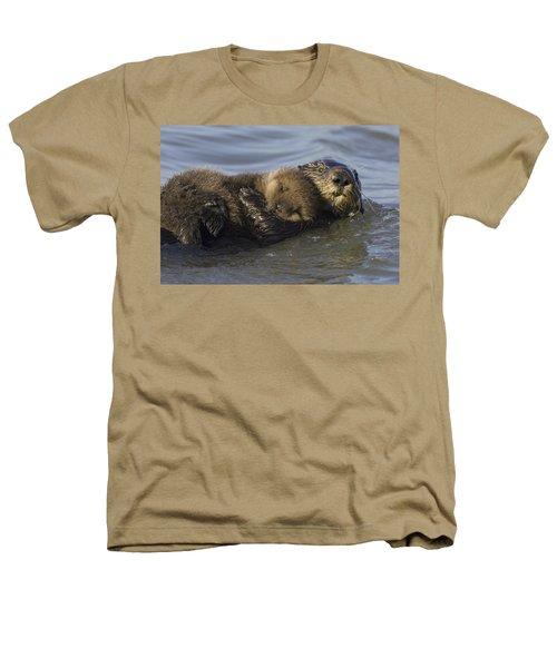 Sea Otter Mother With Pup Monterey Bay Heathers T-Shirt by Suzi Eszterhas