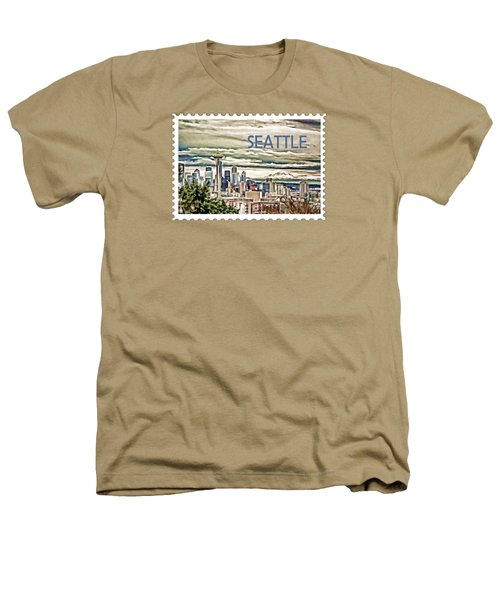 Seattle Skyline In Fog And Rain Text Seattle Heathers T-Shirt