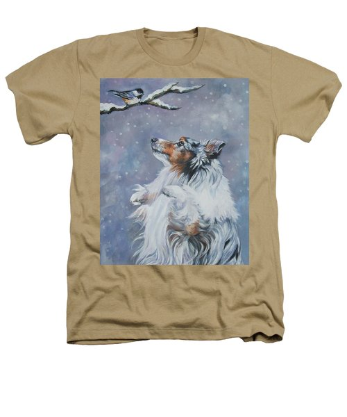 Shetland Sheepdog With Chickadee Heathers T-Shirt
