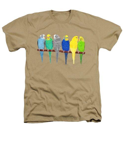 Six Parakeets Heathers T-Shirt by Rita Palmer