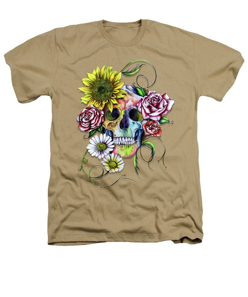 Skull And Flowers Heathers T-Shirt by Isabel Salvador