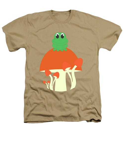 Small Frog Sitting On A Mushroom  Heathers T-Shirt