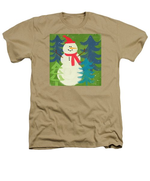 Snowman In Red Hat-art By Linda Woods Heathers T-Shirt
