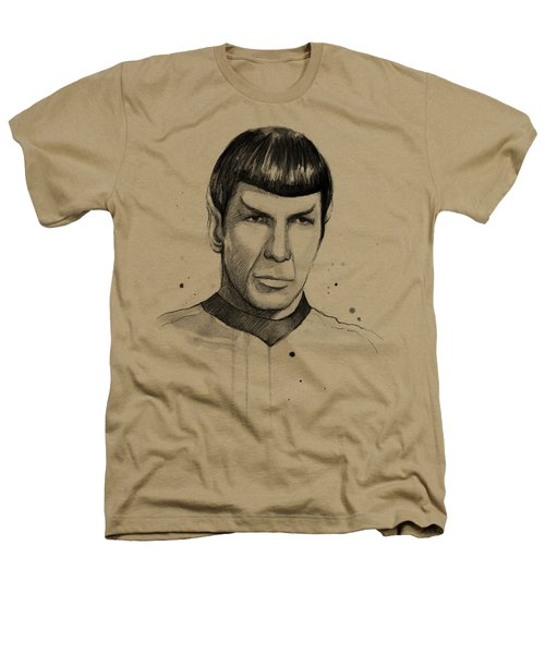Spock Watercolor Portrait Heathers T-Shirt by Olga Shvartsur