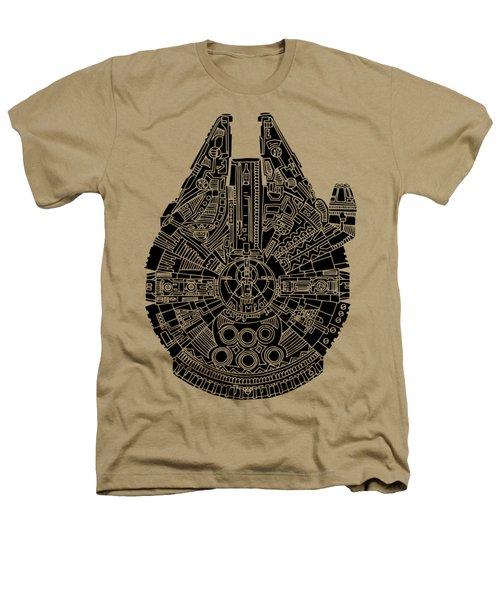 Star Wars Art - Millennium Falcon - Black Heathers T-Shirt by Studio Grafiikka
