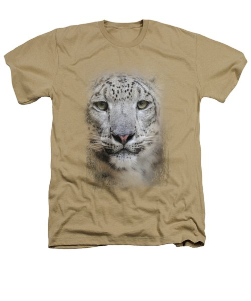 Stare Of The Snow Leopard Heathers T-Shirt by Jai Johnson