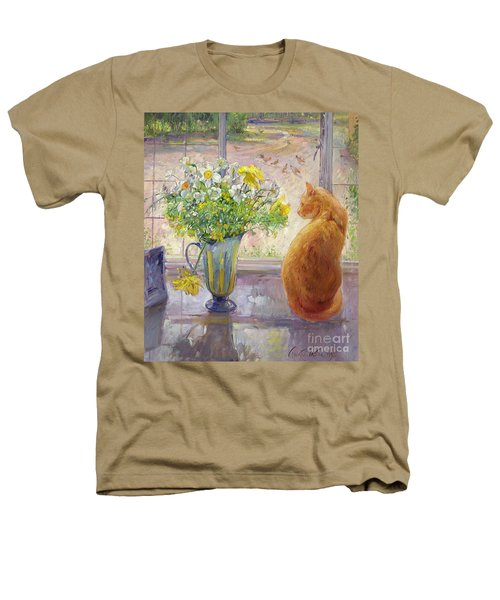 Striped Jug With Spring Flowers Heathers T-Shirt by Timothy Easton