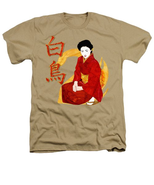 Swan Japanese Geisha Heathers T-Shirt by Sharon and Renee Lozen