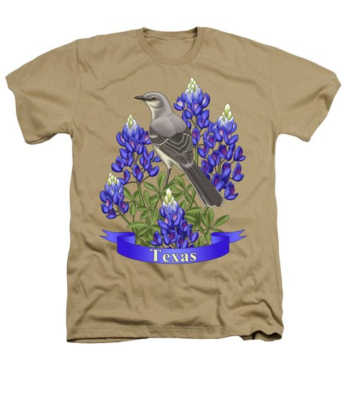 Texas State Mockingbird And Bluebonnet Flower Heathers T-Shirt by Crista Forest