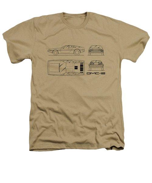 The Delorean Dmc-12 Blueprint - White Heathers T-Shirt by Mark Rogan