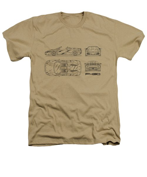 The F430 Blueprint - White Heathers T-Shirt by Mark Rogan