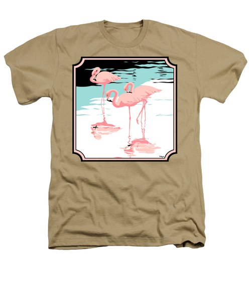 Three Pink Flamingos Tropical Landscape Abstract - Square Format Heathers T-Shirt by Walt Curlee