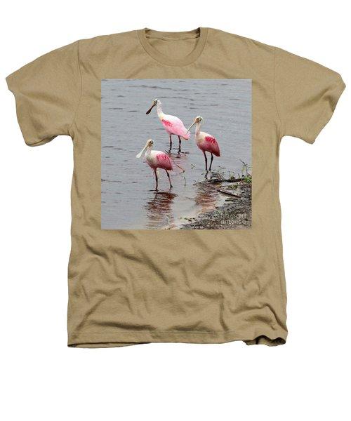 Three Roseate Spoonbills Square Heathers T-Shirt by Carol Groenen