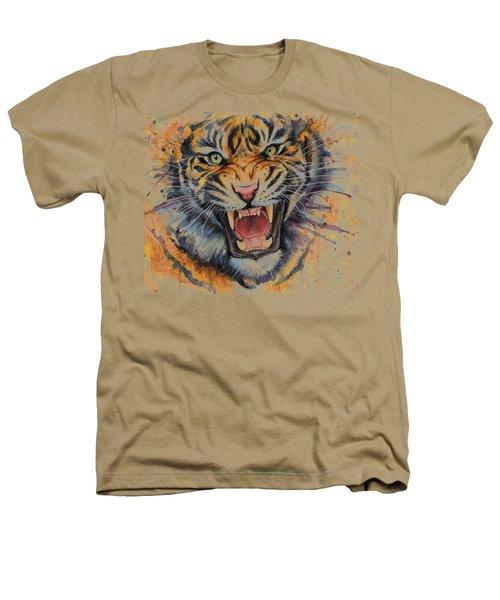 Tiger Watercolor Portrait Heathers T-Shirt by Olga Shvartsur