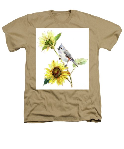 Titmouse With Sunflower Heathers T-Shirt
