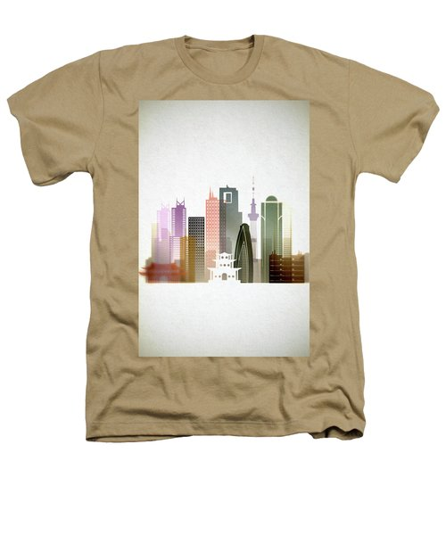 Tokyo  Cityscape Heathers T-Shirt by Dim Dom