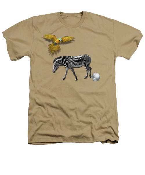 Two Zebras And Macaw Heathers T-Shirt by iMia dEsigN