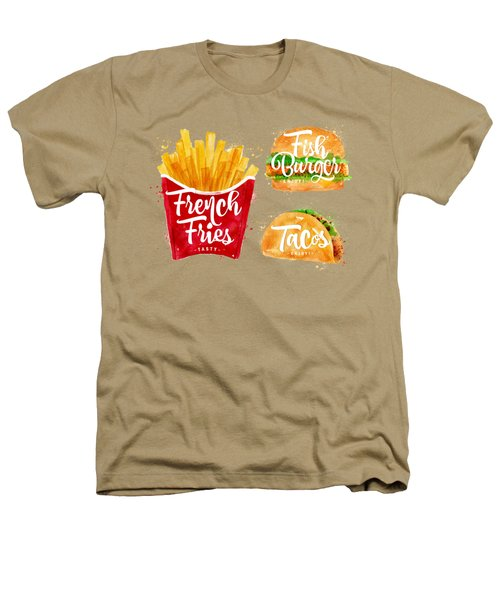 Vintage French Fries Heathers T-Shirt by Aloke Creative Store