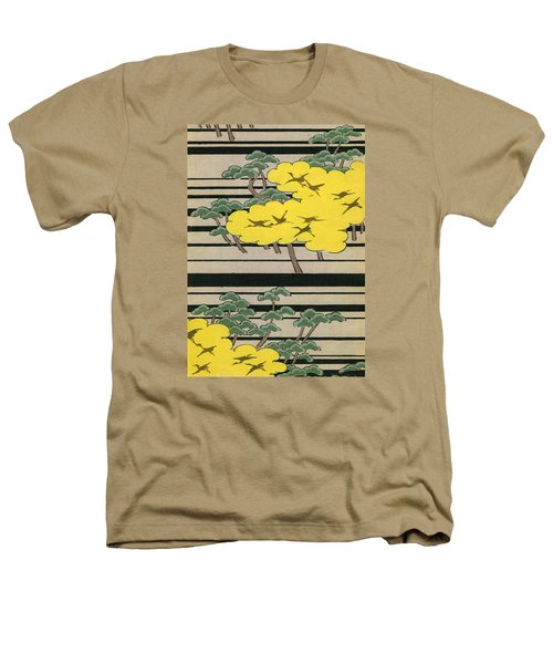 Vintage Japanese Illustration Of An Abstract Forest Landscape With Flying Cranes Heathers T-Shirt by Japanese School