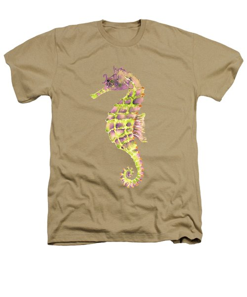 Violet Green Seahorse - Square Heathers T-Shirt by Amy Kirkpatrick