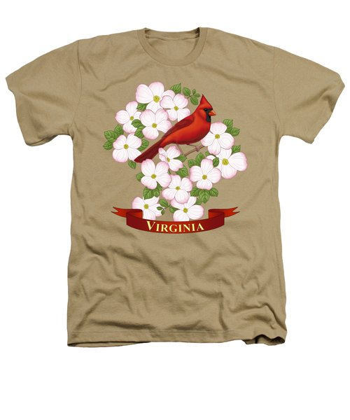 Virginia State Bird Cardinal And Flowering Dogwood Heathers T-Shirt by Crista Forest