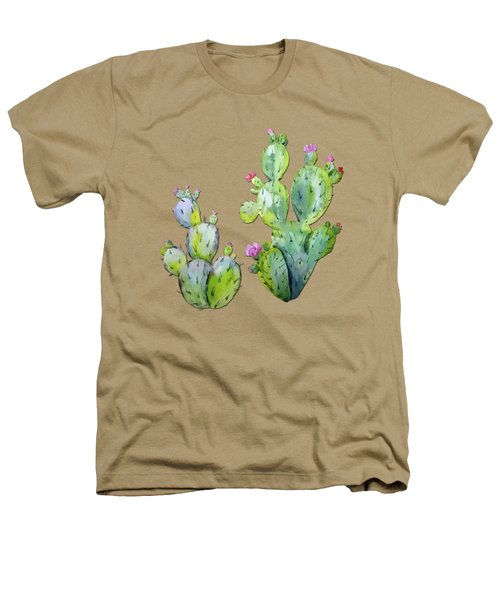 Water Color Prickly Pear Cactus Adobe Background Heathers T-Shirt by Elaine Plesser
