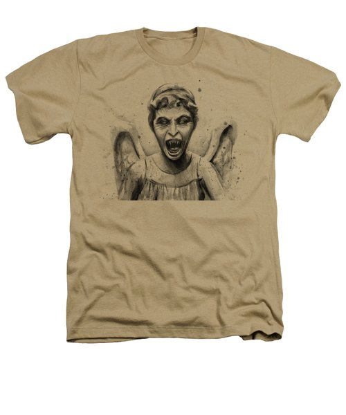 Weeping Angel Watercolor - Don't Blink Heathers T-Shirt by Olga Shvartsur