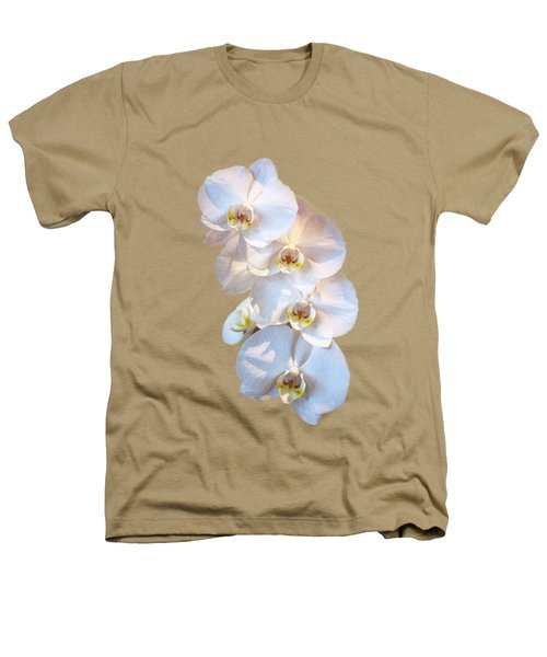 White Orchid Cutout Heathers T-Shirt by Linda Phelps