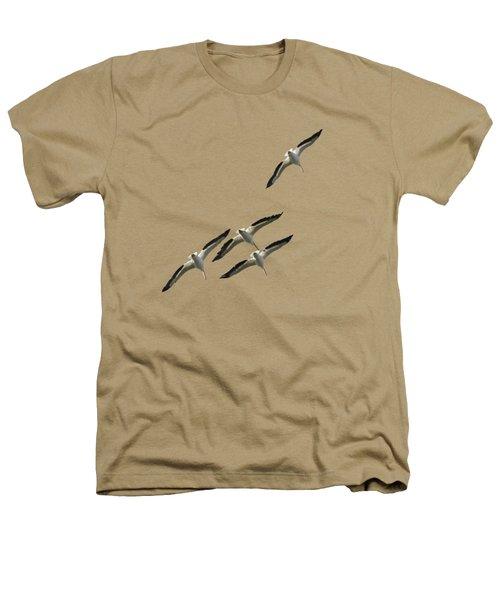 White Pelicans Transparency Heathers T-Shirt by Richard Goldman