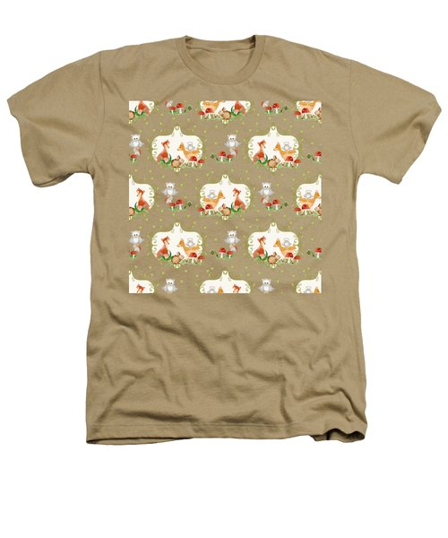 Woodland Fairy Tale - Mint Green Sweet Animals Fox Deer Rabbit Owl - Half Drop Repeat Heathers T-Shirt