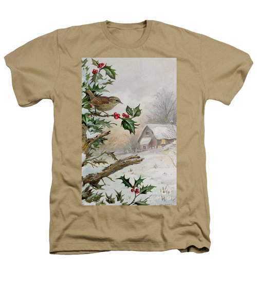 Wren In Hollybush By A Cottage Heathers T-Shirt by Carl Donner