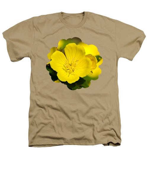 Yellow Flowers - Evening Primrose Heathers T-Shirt by Christina Rollo