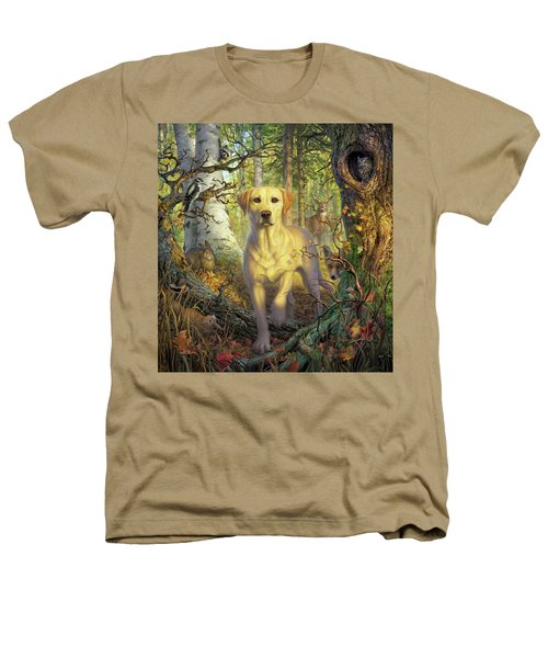 Yellow Lab In Fall Heathers T-Shirt