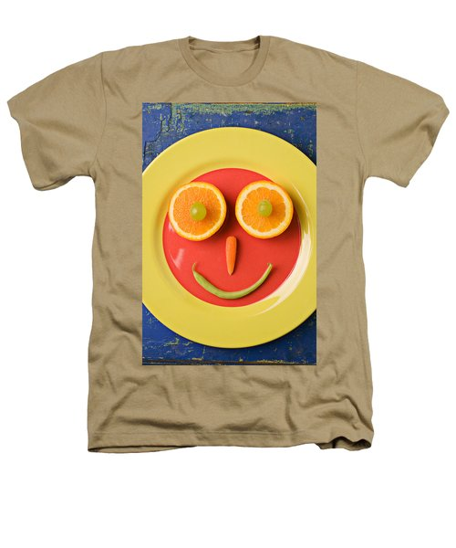 Yellow Plate With Food Face Heathers T-Shirt by Garry Gay