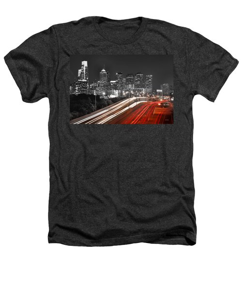 Philadelphia Skyline At Night Black And White Bw  Heathers T-Shirt by Jon Holiday