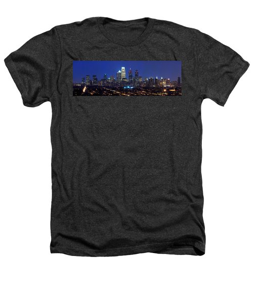 Buildings Lit Up At Night In A City Heathers T-Shirt by Panoramic Images