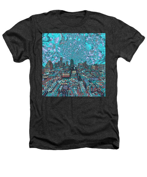Austin Texas Vintage Panorama 4 Heathers T-Shirt by Bekim Art