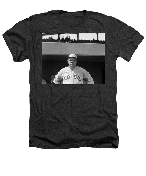 Babe Ruth In Red Sox Uniform Heathers T-Shirt by Underwood Archives