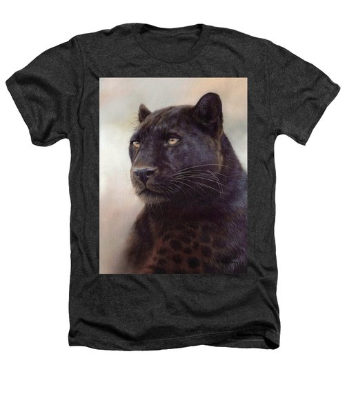 Black Leopard Painting Heathers T-Shirt by Rachel Stribbling