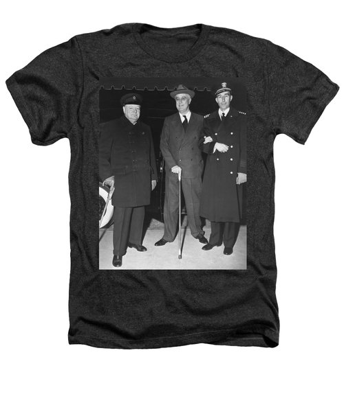 Churchill And Roosevelt Heathers T-Shirt by Underwood Archives