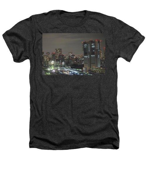 Docomo Tower Over Shinagawa Station And Tokyo Skyline At Night Heathers T-Shirt by Jeff at JSJ Photography